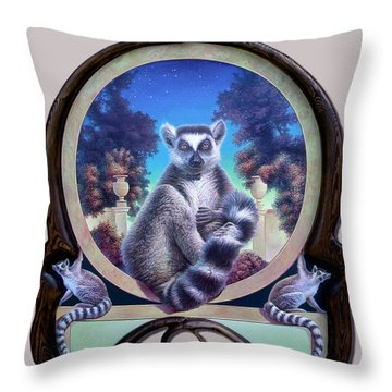 Zoofari Poster The Lemur Throw Pillow by Hans Droog