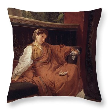 Lesbia Weeping Over A Sparrow Throw Pillow by Sir Lawrence Alma-Tadema