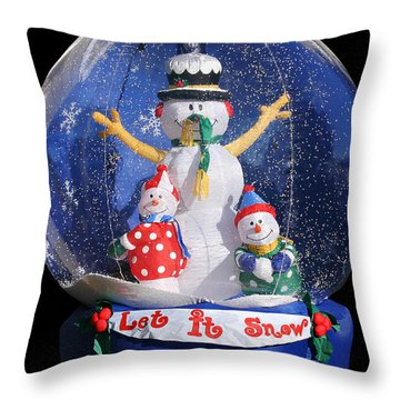 Let It Snow Throw Pillow by Christine Till