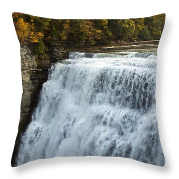 Throw Pillow featuring the photograph Letchworth Middle Falls by Darleen Stry