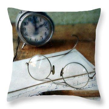 Letter Pen Glasses And Clock Throw Pillow by Jill Battaglia