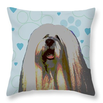 Lhasa Apso Throw Pillow by One Rude Dawg Orcutt