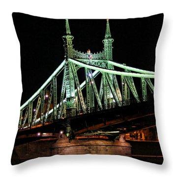 Liberty Bridge At Night Throw Pillow by Mariola Bitner