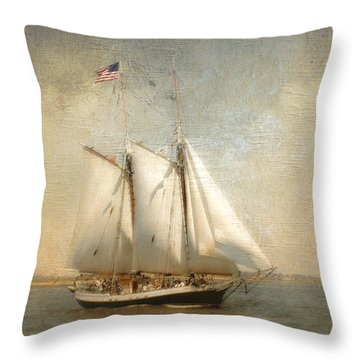 Liberty Clipper On Boston Harbor Throw Pillow