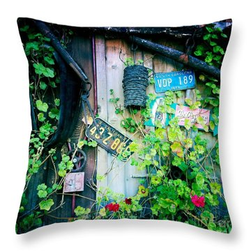 Throw Pillow featuring the photograph License Plate Wall by Nina Prommer