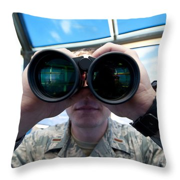 Lieutenant Uses Binoculars To Scan Throw Pillow by Stocktrek Images