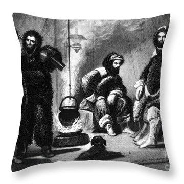 Life In The Arctic, 19th Century Throw Pillow by Science Source