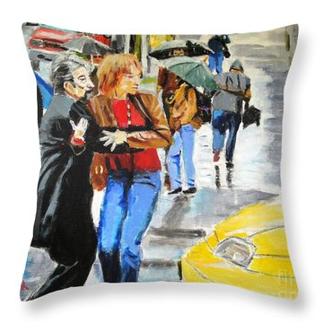 Throw Pillow featuring the painting Life In The Big City by Judy Kay