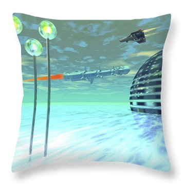 Life Under Domes On An Alien Waterworld Throw Pillow by Corey Ford