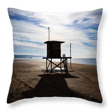 Lifeguard Tower Newport Beach California Throw Pillow by Paul Velgos