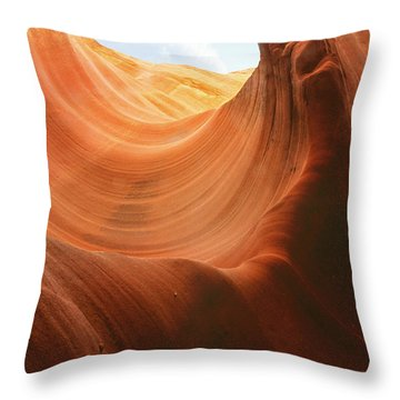 Light At The End Of The Tunnel - Antelope Canyon Az Throw Pillow by Christine Till