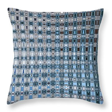 Light Blue And Gray Abstract Throw Pillow by Carol Groenen