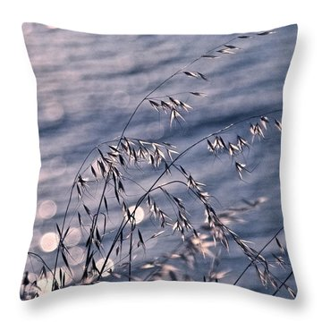 Light Bubbles And Grass Throw Pillow by Jocelyn Kahawai
