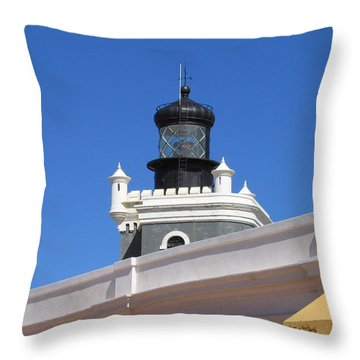 Lighthouse At Puerto Rico Castle Throw Pillow by Suhas Tavkar