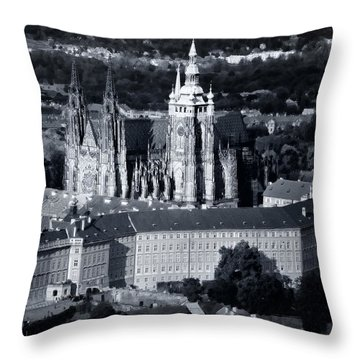 Light On The Cathedral Throw Pillow by Joan Carroll