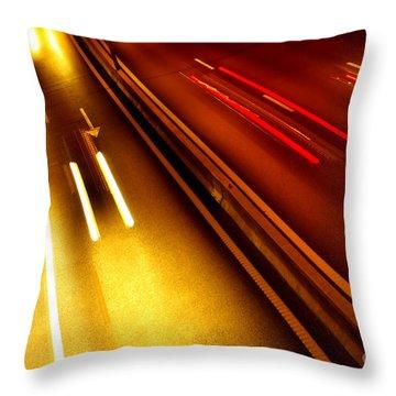 Light Trails Throw Pillow by Carlos Caetano