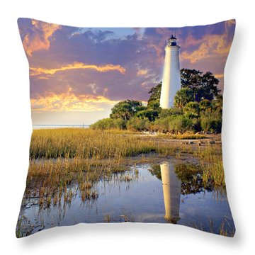 Lighthous Reflection 1 Throw Pillow by Marty Koch