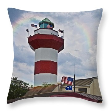 Lighthouse And Rainbow Throw Pillow