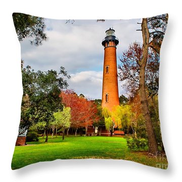 Lighthouse At Currituck Beach Throw Pillow by Nick Zelinsky