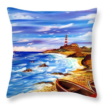 Throw Pillow featuring the painting Lighthouse Island by Roberto Gagliardi