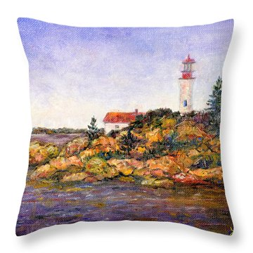 Throw Pillow featuring the painting Lighthouse by Lou Ann Bagnall