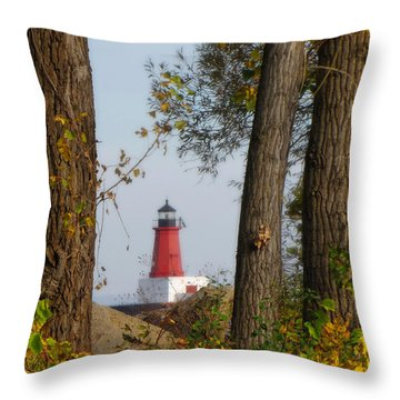 Lighthouse Mist Throw Pillow