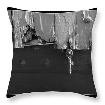 Throw Pillow featuring the photograph Lighthouse Shutter Black And White by Darleen Stry