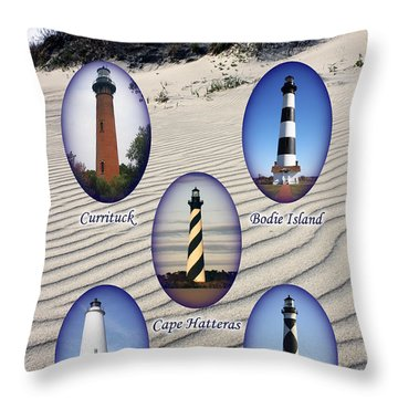 Throw Pillow featuring the photograph Lighthouses Of The Outer Banks by Tony Cooper