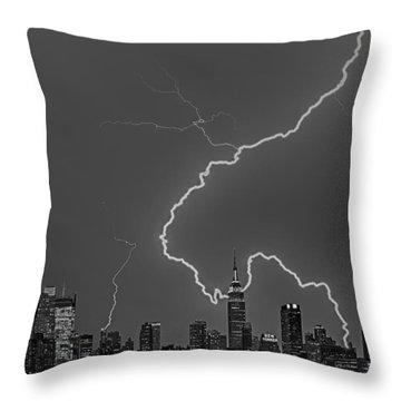 Lightning Bolts Over New York City Bw Throw Pillow by Susan Candelario