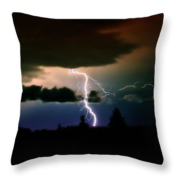 Lightning Over The Plains I Throw Pillow by Ellen Heaverlo