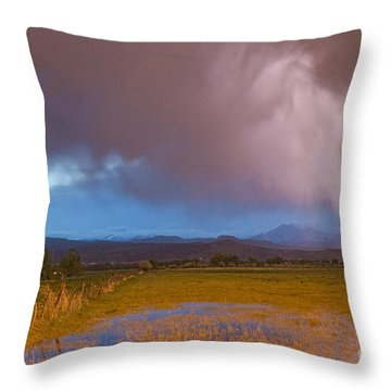 Lightning Striking Longs Peak Foothills 7 Throw Pillow by James BO  Insogna