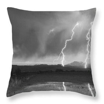 Lightning Striking Longs Peak Foothills Bw Throw Pillow by James BO  Insogna