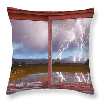 Lightning Striking Longs Peak Red Rustic Picture Window Frame Throw Pillow by James BO  Insogna