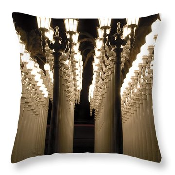 Lights In Art Exhibit In La Throw Pillow by Micah May