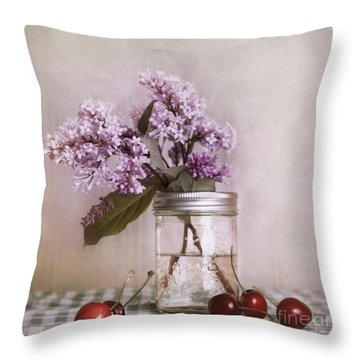 Lilac And Cherries Throw Pillow by Priska Wettstein