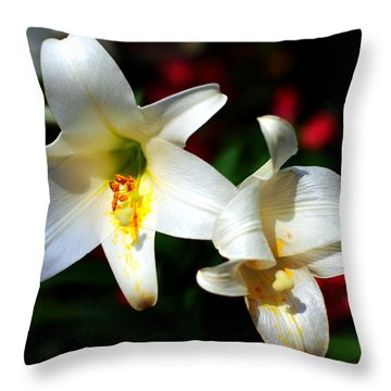 Lilium Longiflorum Flower Throw Pillow by Paul Ge
