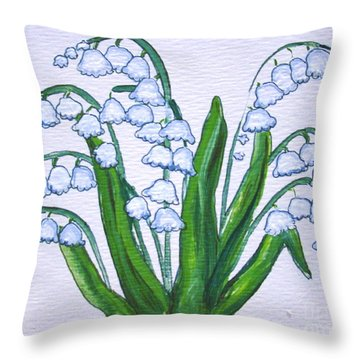 Lily-of-the-valley In Full Glory Throw Pillow