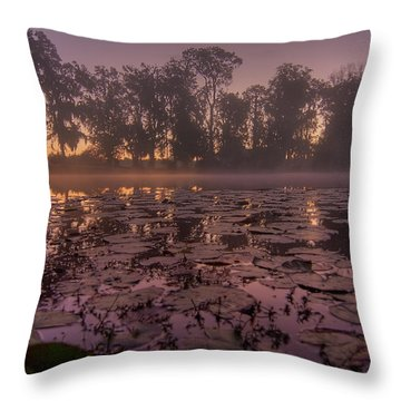 Throw Pillow featuring the photograph Lily Pads In The Fog by Dan Wells