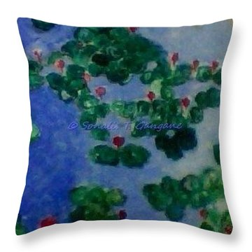 Throw Pillow featuring the painting Lily Pond by Sonali Gangane