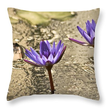 Lily Twins Throw Pillow by Carolyn Marshall