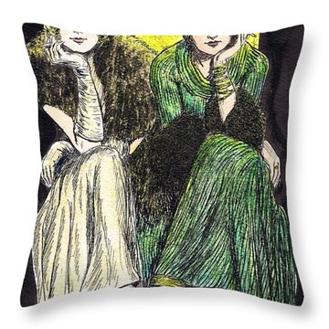 Lilyan And Kay Throw Pillow by Mel Thompson