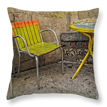 Lime Chairs Throw Pillow by Joan  Minchak