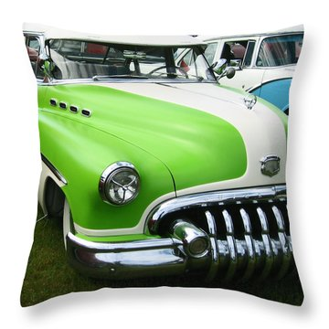 Throw Pillow featuring the photograph Lime Green 1950s Buick by Kym Backland