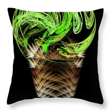Lime Ice Cream Cone Throw Pillow by Andee Design