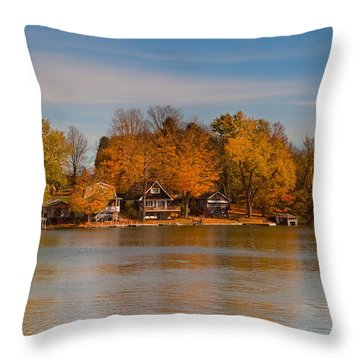 Lime Lake Throw Pillow