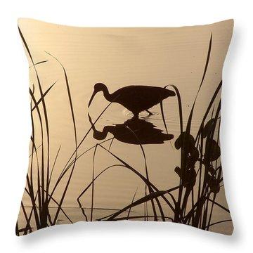 Limpkin At Dawn Throw Pillow