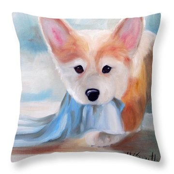 Linus And His Blanket Throw Pillow by Mary Sparrow