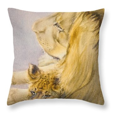 Throw Pillow featuring the painting Lion And Cub by Bonnie Rinier