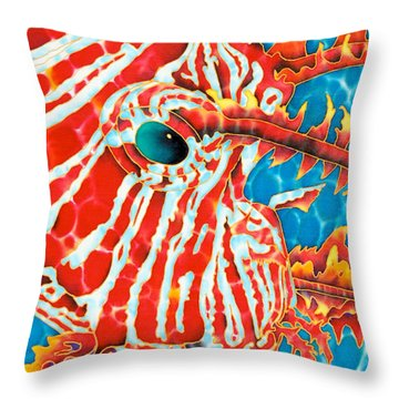 Lion Fish Face Throw Pillow by Daniel Jean-Baptiste