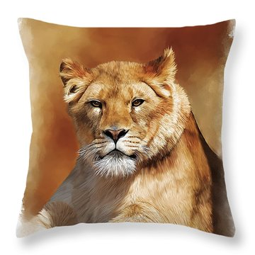 Lioness Portrait Throw Pillow by Michael Greenaway